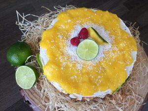 Kokosovo-limetková torta s mangom